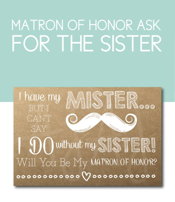 Sister of the Bride, Matron of Honor Card