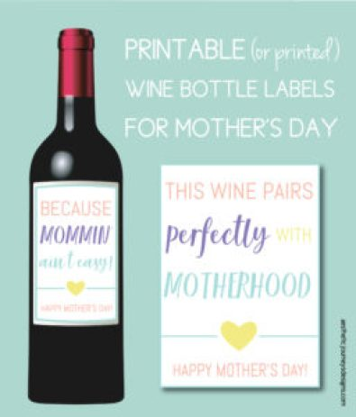 Mother's Day Crafts: Wine Bottle Labels