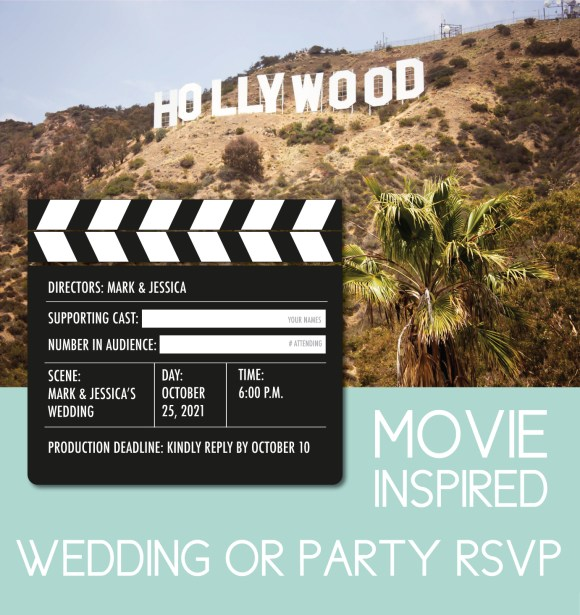 Non traditional wedding RSVP wording and design for the movie-loving couple. RSVP comes in the shape of a clapperboard