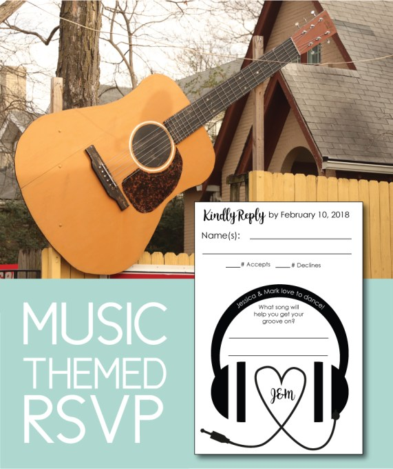 "Take the ""song request"" idea to the next level with this fun music themed wedding RSVP. Share your love of music right from the start."