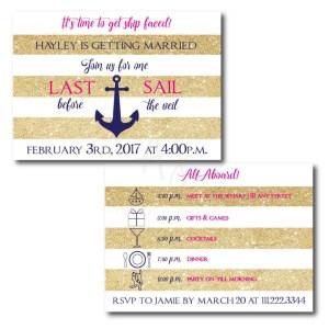 Last Sail Nautical Bachelorette Invite