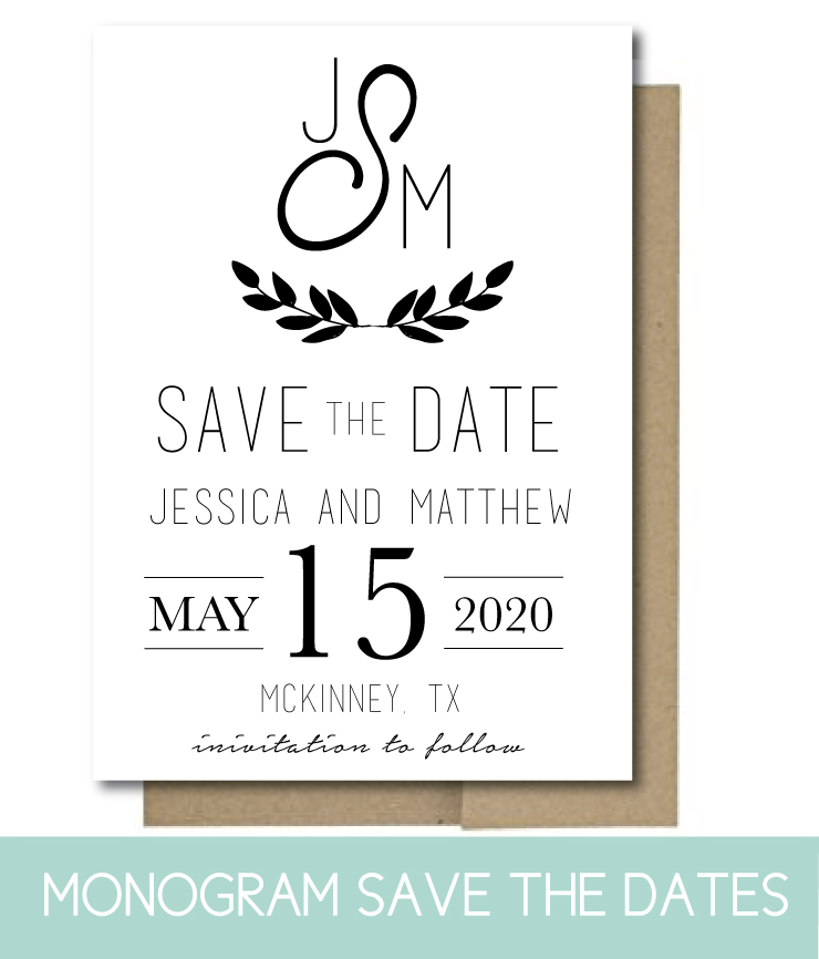 Monogram Save the Dates in simple style