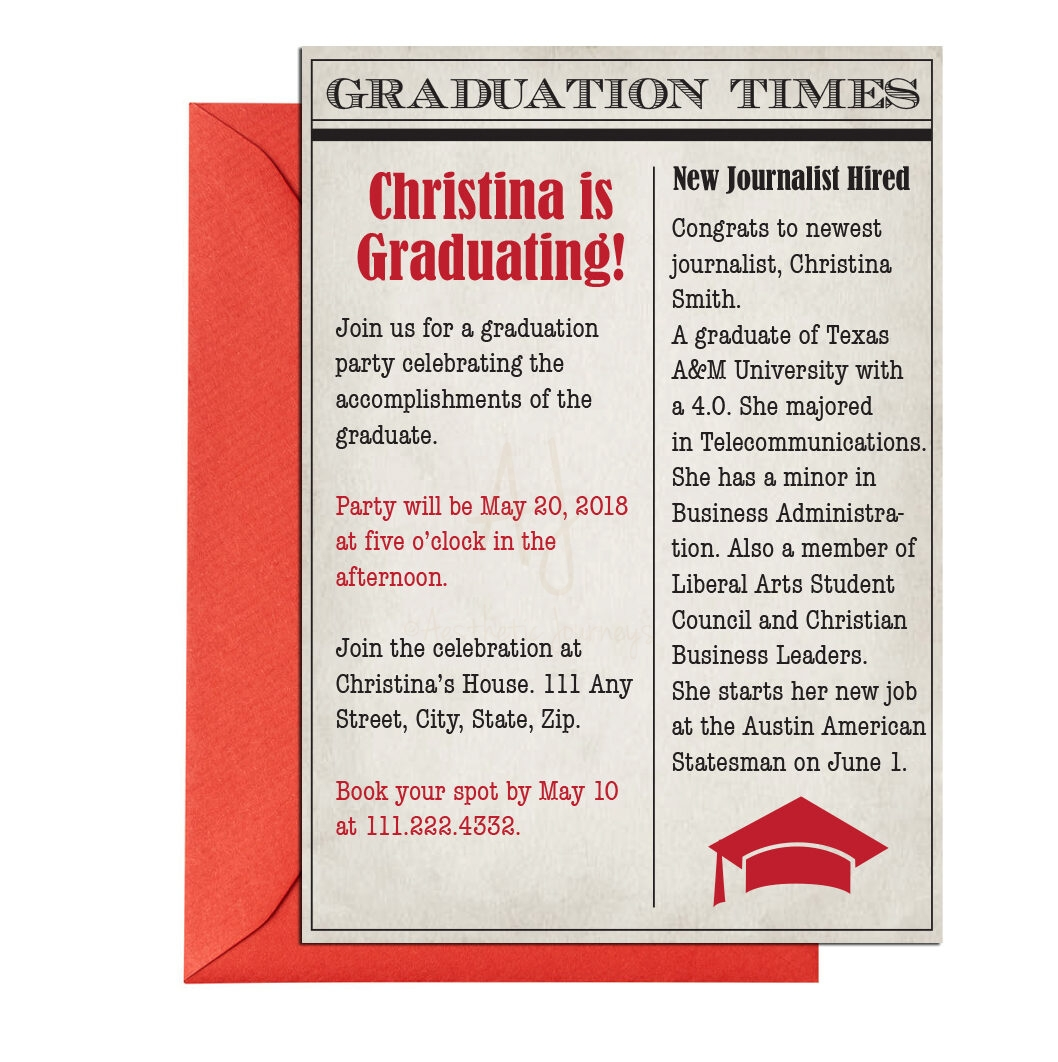 Newspaper Themed Graduation Invite + Envelopes -