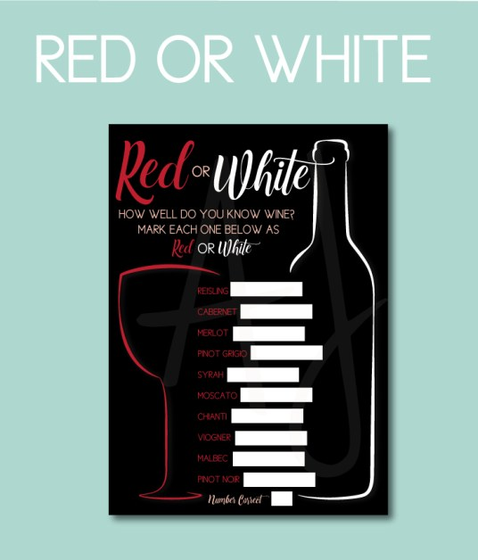 Red or White, Wine-Themed Bridal Shower Game