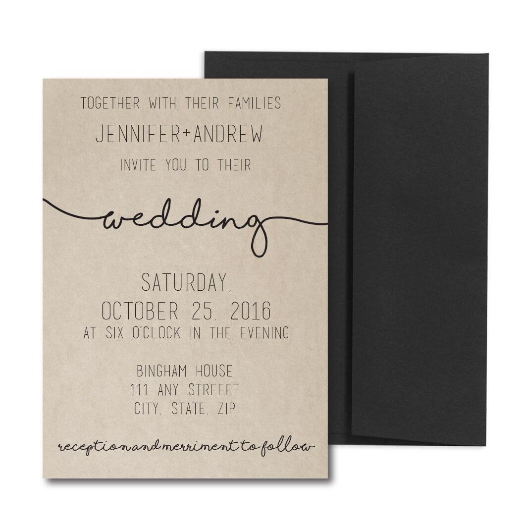Cursive Wedding Invite With Rustic Back Envelopes