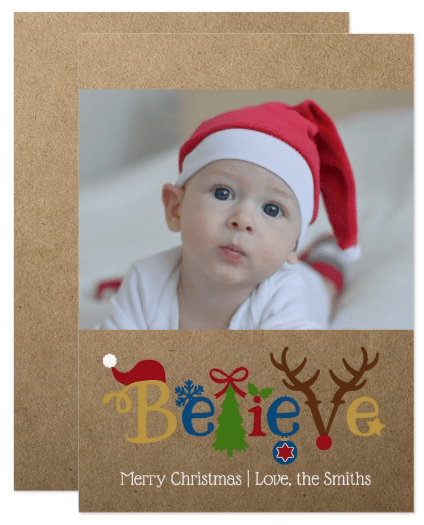 "Rustic ""Believe"" Photo Holiday Cards"