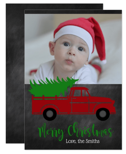 Chalkboard Christmas Card with Farmhouse Truck