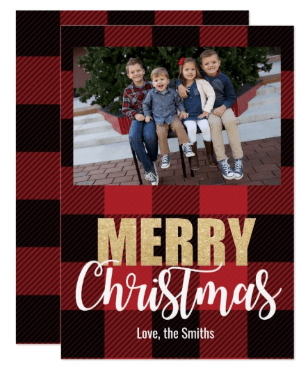 Plaid Merry Christmas Holiday Cards
