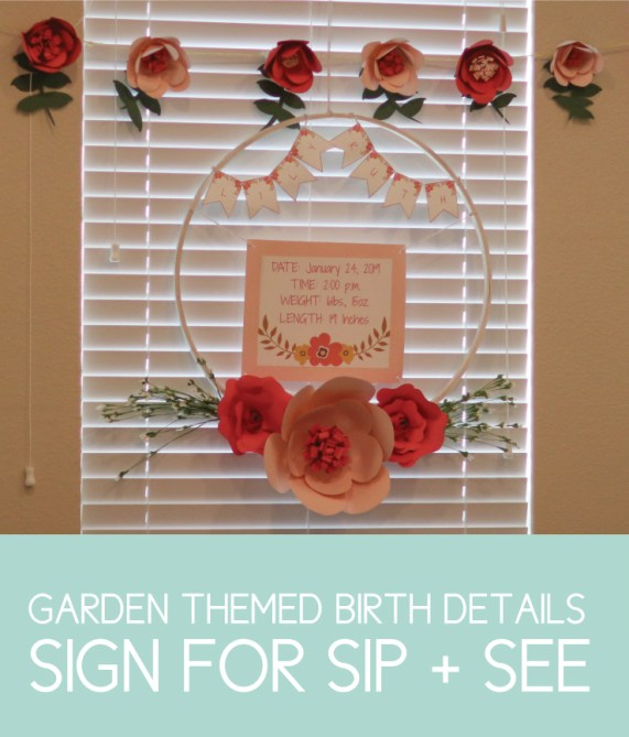 Garden Sip and See Party Sign with Baby's Birth Details