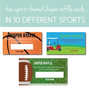 Download free sport themed diaper raffle cards