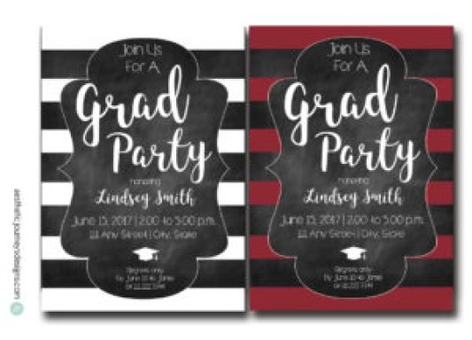 Striped Graduation Invites