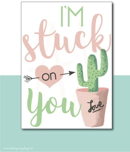 I'm Stuck on You Cactus Themed Valentine Card