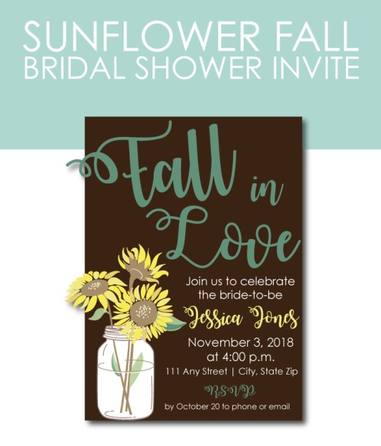 Fall Bridal Shower Invite with Sunflowers
