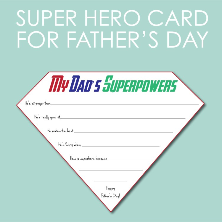 Super hero Card for Father's Day