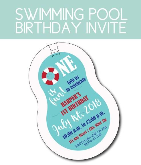 Swimming Pool Shaped Birthday Invite