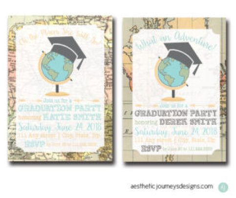Travel themed Graduation Invite