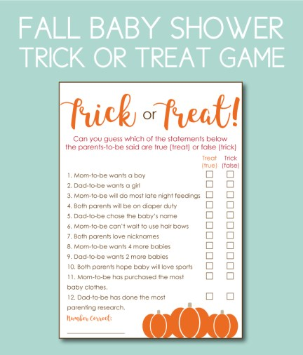 Trick or Treat, True or False Baby Shower Game