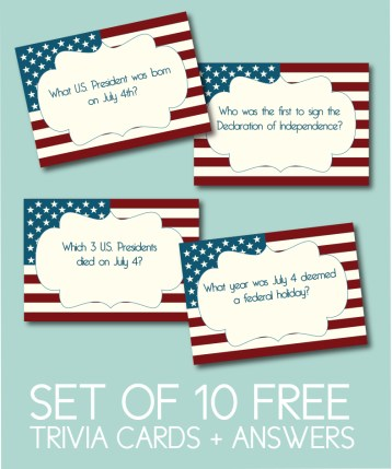 Set of 10 Free Trivia Cards