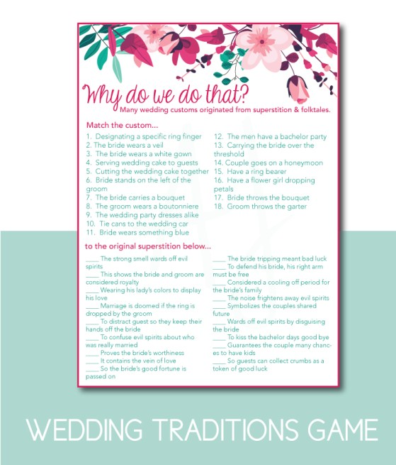 Wedding Traditions Bridal Shower Game