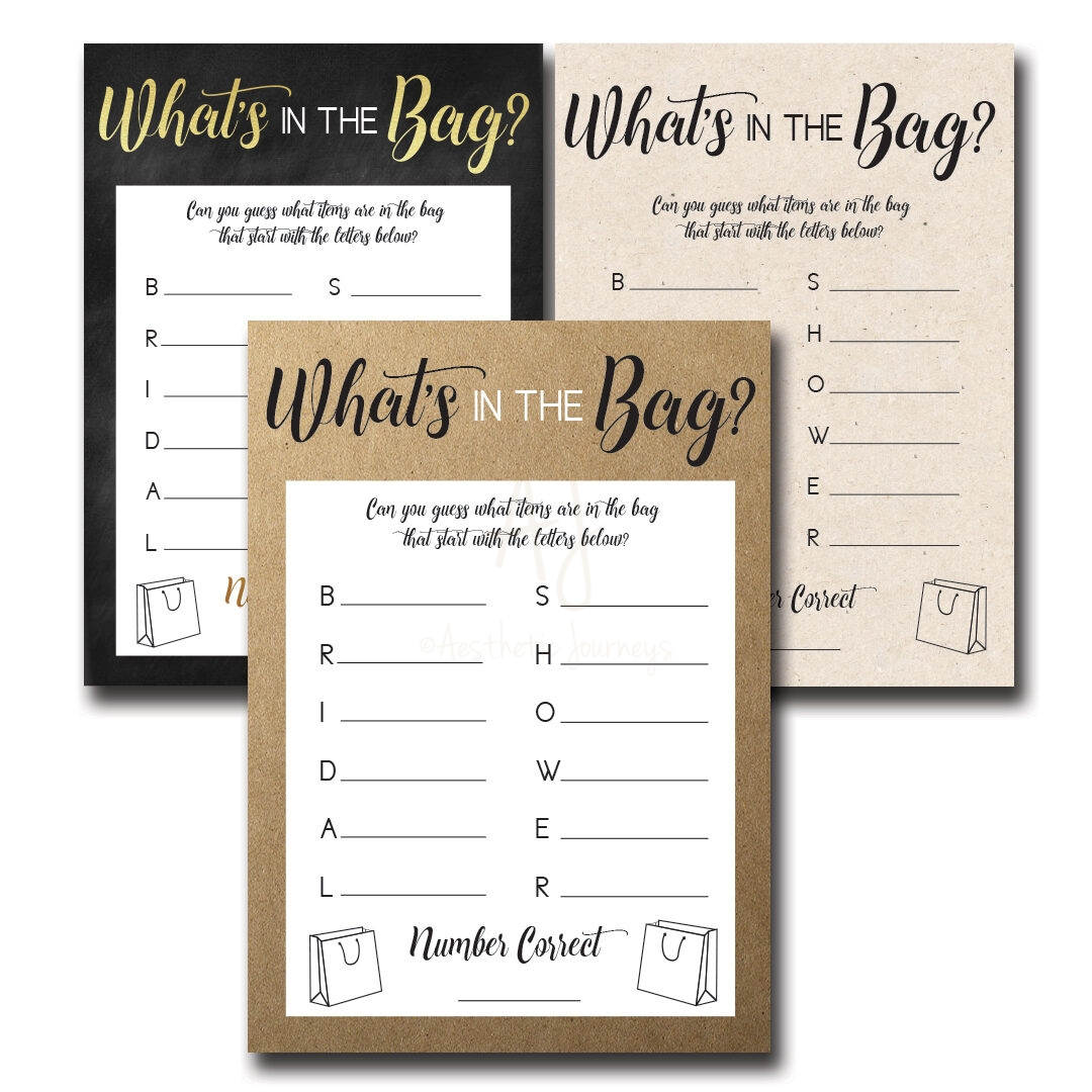 whats in the bag bridal shower game