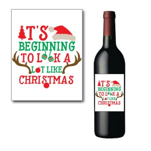 Red and Green Holiday Wine Bottle Label