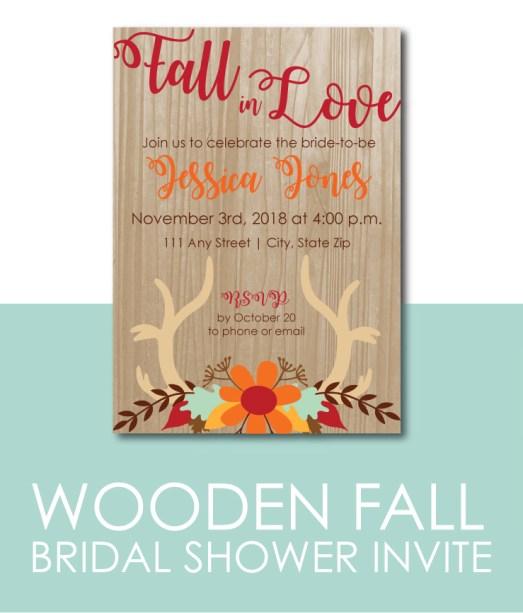 Wooden Fall Bridal Shower Invite