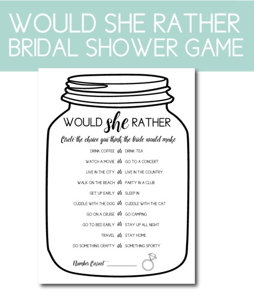 Would She Rather Bridal Shower Game