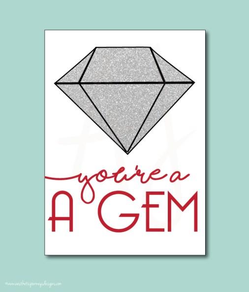 You're a Gem Valentines Printable