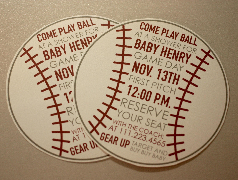 Baseball Invite for Baby Shower + Envelopes -