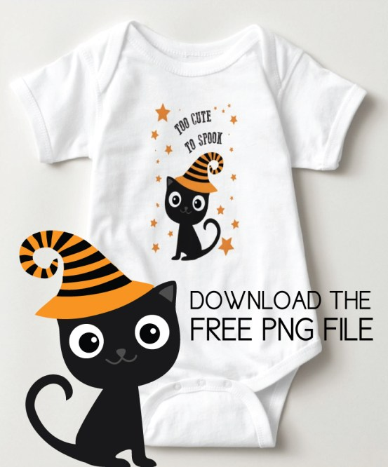 "black cat baby onsie with ""too cute to spook"""