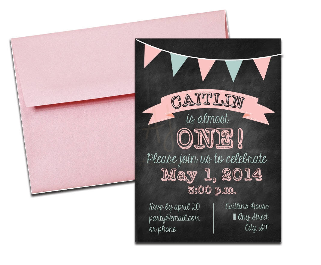 pink chalkboard party invite envelopes