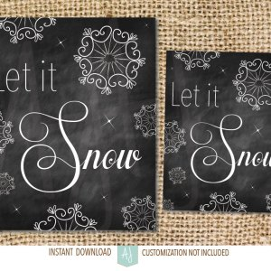 Chalkboard Christmas Decoration-Let it Snow