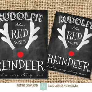 Chalkboard Christmas Decoration-Rudolph the Red