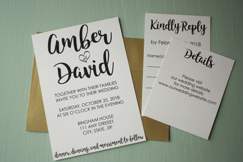 Simple Classic Wedding Invite + Envelopes -