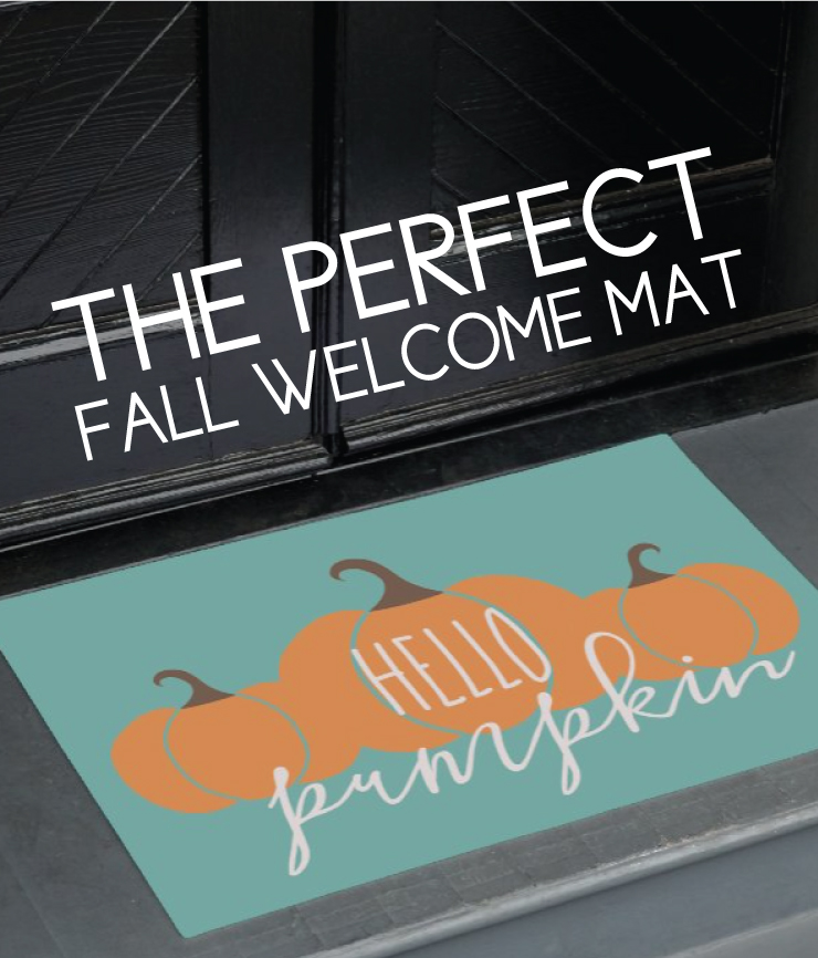"welcome mat with ""hello pumpkin"""