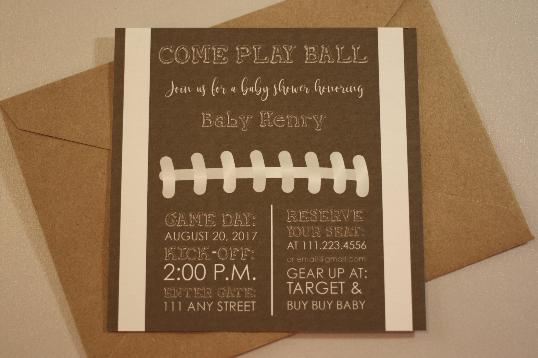 Football Themed Invite for Baby Shower + Envelopes -