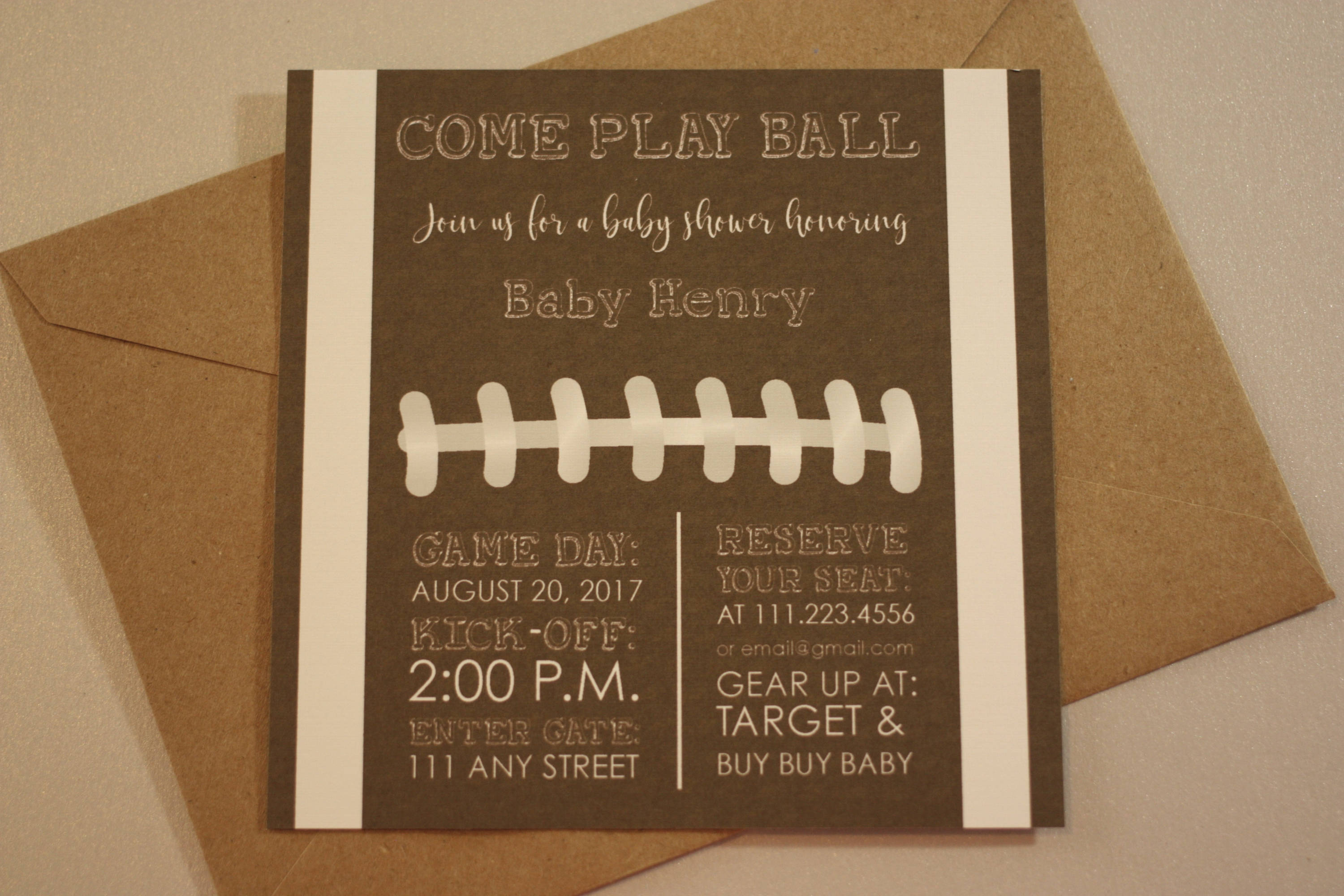 Football Baby Shower Invitation With Envelopes   Printed Invites And Color  Envelopes   Square Invite