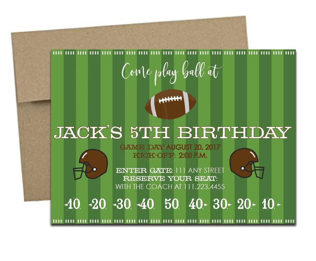 Green Football Themed Invite + Envelopes -