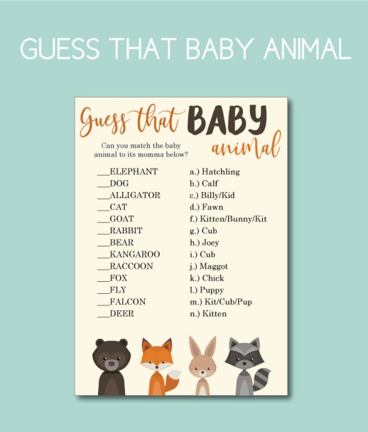 Guess that baby animal shower game