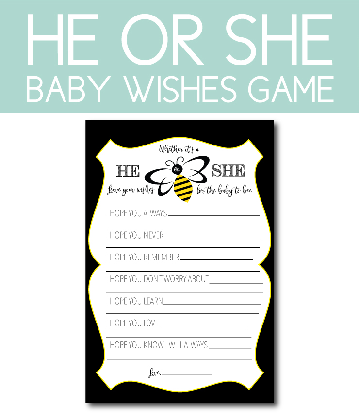 Baby Wishes Game for Honey Bee Gender Reveal
