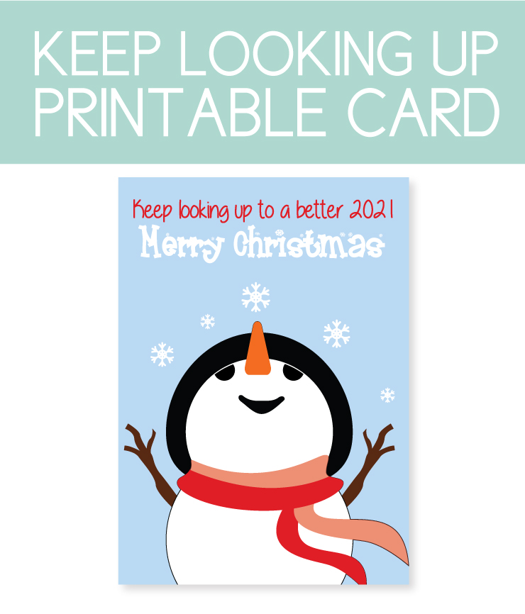 printable holiday card with snowman