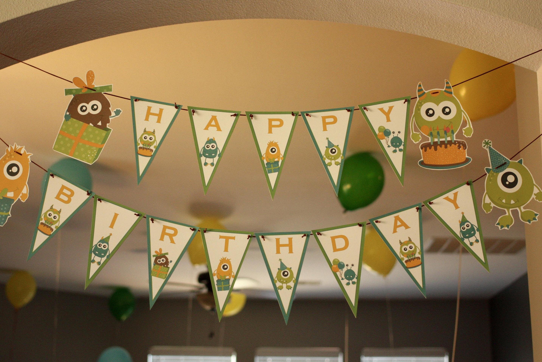 monster happy birthday banner ribbon