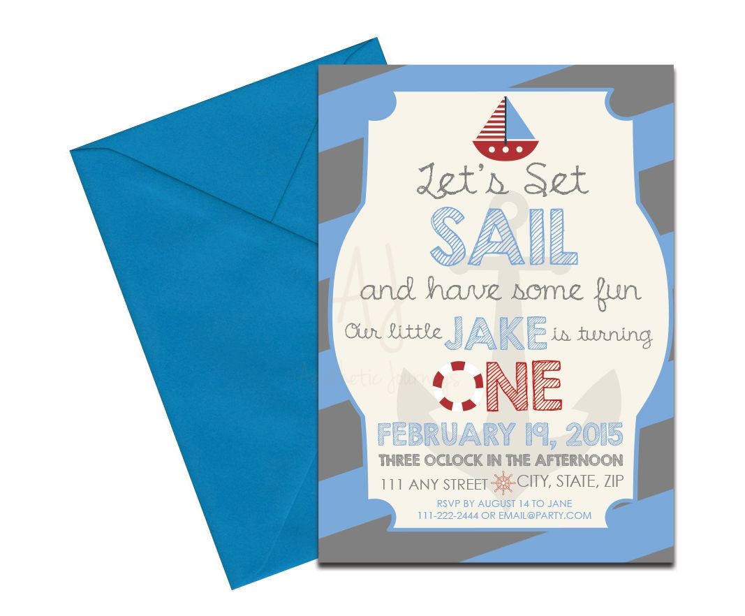 Blue Nautical Themed Invite Envelopes