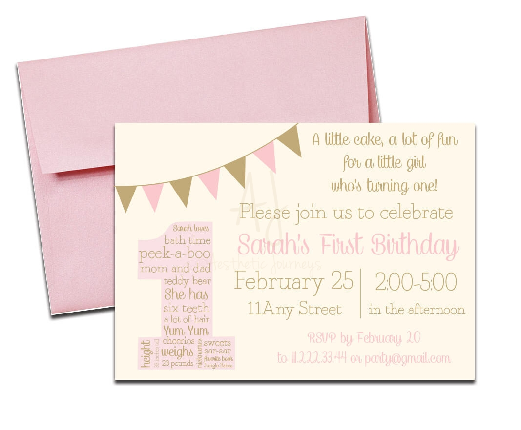 Pink and Gold Birthday Party Invite + Envelopes -