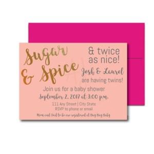 Sugar and Spice Invite for Twins