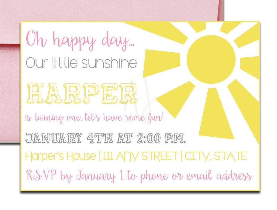 pink sunshine invite for birthday envelopes