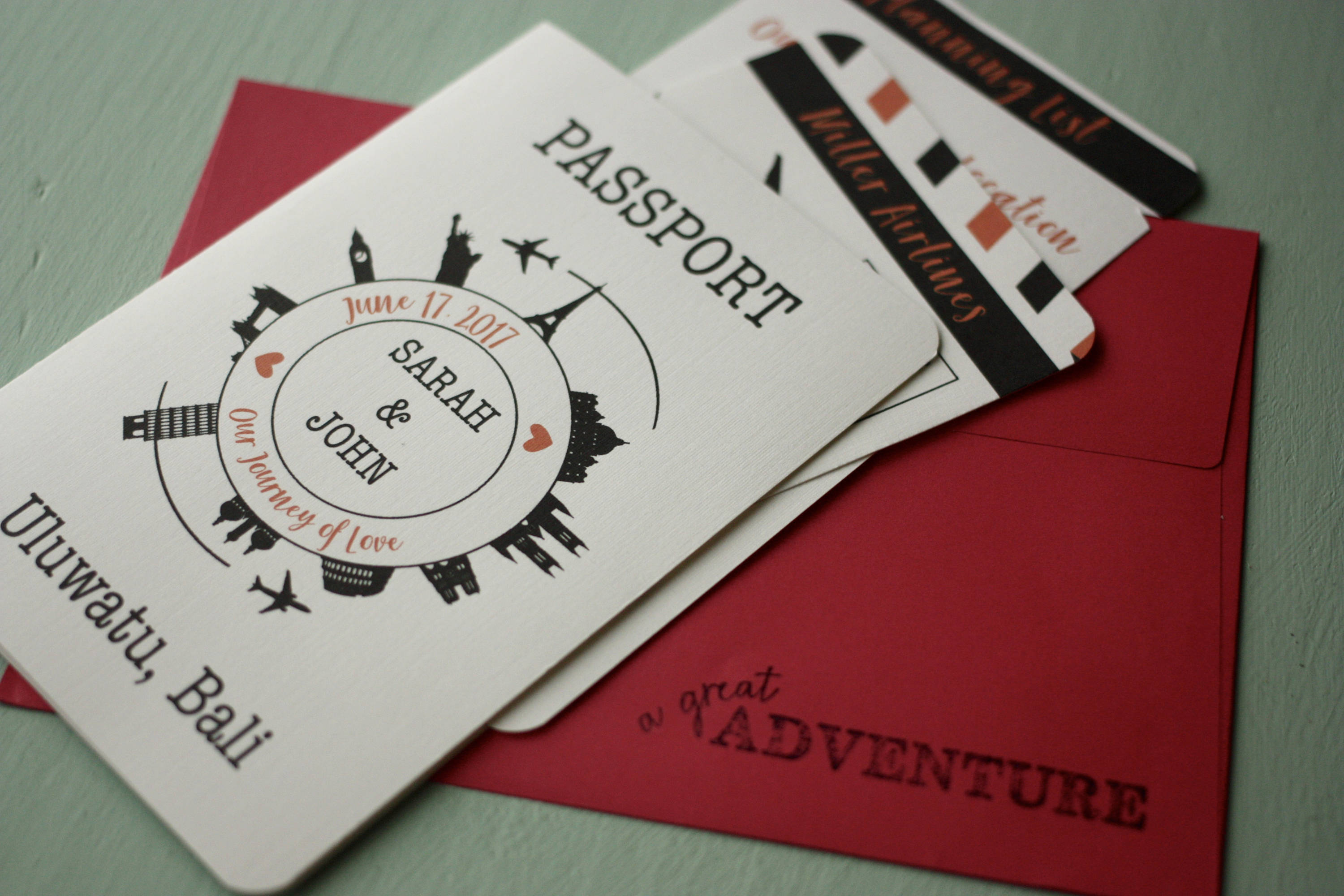 Airline Ticket Wedding Invite + Envelopes -