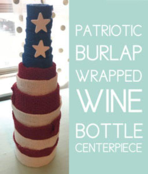 Patriotic Wrapped Wine Bottle