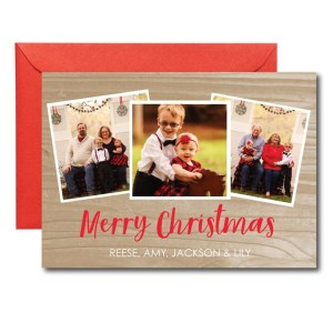 photo holiday card with wooden back