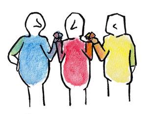 trois bonhommes bleu rouge jaune se tenant les mains